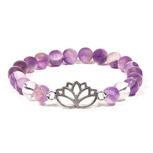Bracelet Améthyste chevron/Cristal de roche lotus