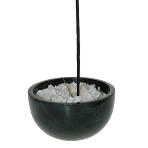 Incense stick bowl black soapstone + white pebbles