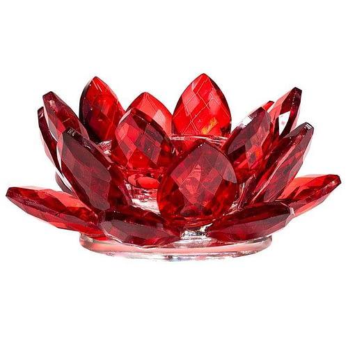 Bougeoir Lotus cristal rouge