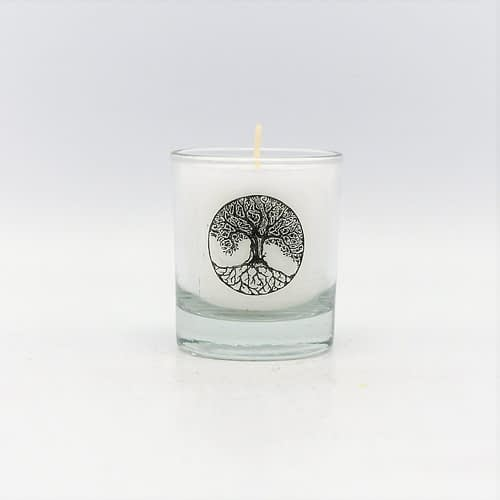 Ecological stearin candles in glass Celtic symbols
