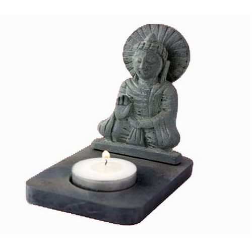 Tea-light holder Buddha black soapstone