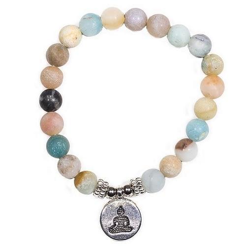 Mala/bracelet en Amazonite élastique avec Bouddha