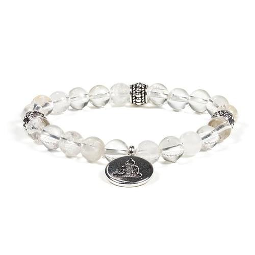 Mala/armband bergkristal elastisch met boeddha 2 stuks