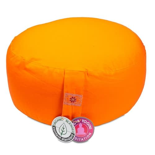 Meditation cushion orange organic cotton