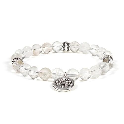 Mala / bracelet cristal de roche élastique lotus