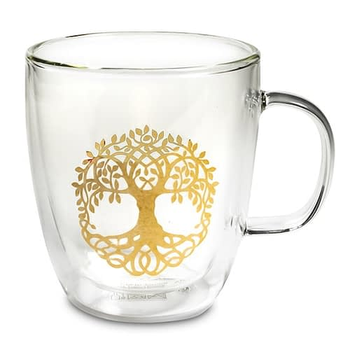 Tea glass double wall Tree of Life 2 pieces