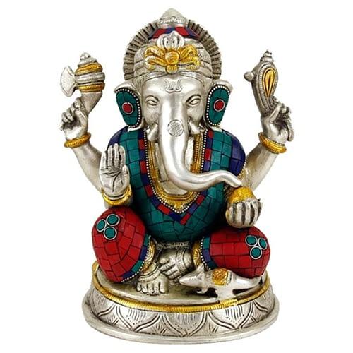 Ganesh statue with mosaic decoration
