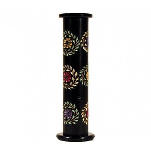 Incense holder soapstone pillar with flowers