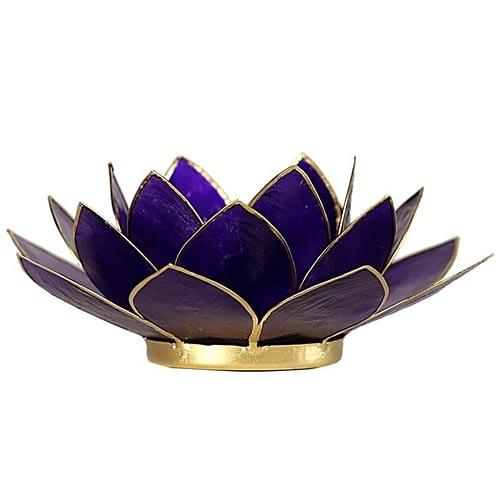 Eclairage Lotus 7° Chakra violet et or