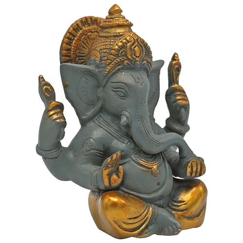 Ganesha grey with golden coloured finish