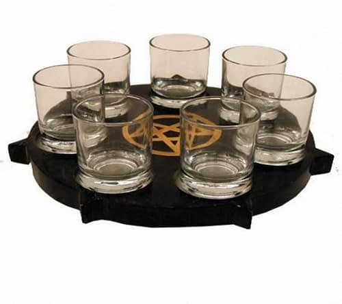 Kerzenhalter SET Pentagramm mit 7 Gläsern
