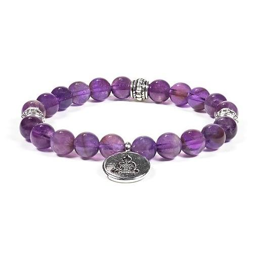 Mala / bracelet améthyste élastique Bouddha