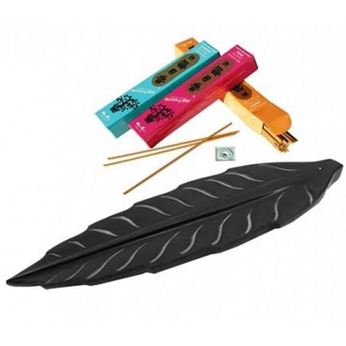 Incense stick burner leaf-shaped black soapstone