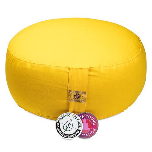 Meditation cushion golden yellow organic cotton