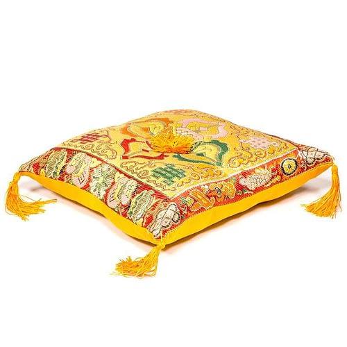Singing Bowl cushion de luxe double dorje yellow